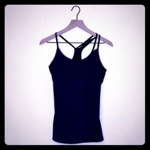 Fabletics Black Strappy Racerback Workout Tank